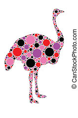 ostrich - dotted ostrich illustration