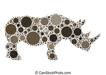 rhino - dotted rhino illustration