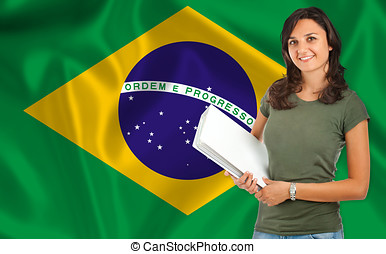 Female student over brazilian flag - Young female student...