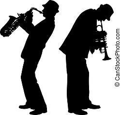 singer - silhouettes of trumpet players