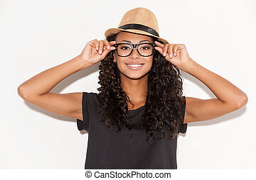 Stylish beauty. Beautiful young African woman in glasses and...