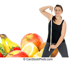 healthy living - Young woman with tape measure and fresh...