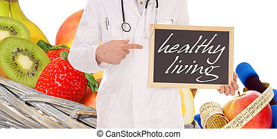 healthy living - doctor with shield and the words healthy...