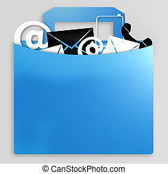 information collection light blue bag with icons symbols