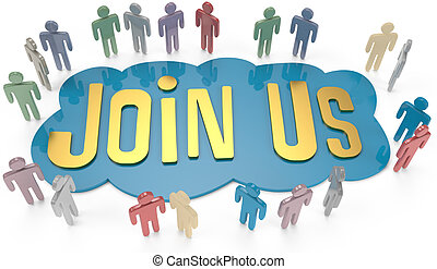 Join Us social or business people invite - People group...