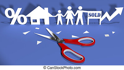 Scissors cut paper doll family home