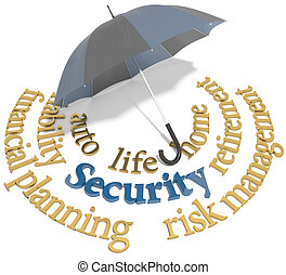 Security financial planning umbrella words - Umbrella symbol...