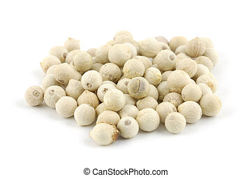 White peppercorns - Close up of white peppercorns in...