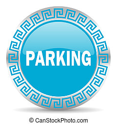 parking icon - blue web button in greek style