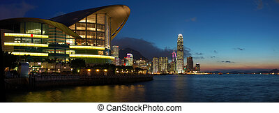 Panorama view of Hong Kong cityscape in sunset