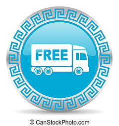 free delivery - blue web button in greek style