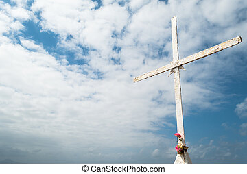 Cross with Pink Flowers (1) - Christian Cross on Rock with...