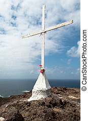 Cross with Pink Flowers (2) - Christian Cross on Rock with...