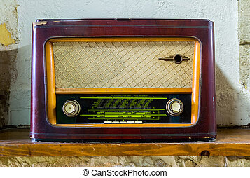 Old Vintage Radio toned in sepia