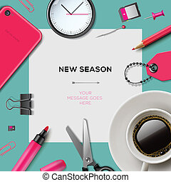 New season template with office supplies, vector Eps10