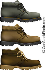 Work Boots - Layered vector illustration of Work Boots with...
