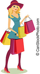 shopping girl - beautiful young blond woman after shopping...