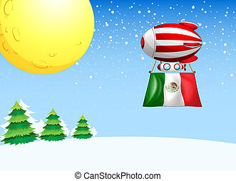 A floating balloon flying with the flag of Mexico