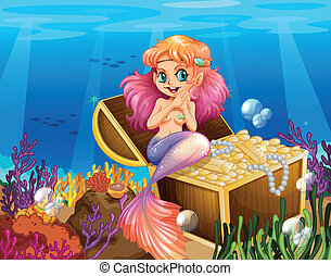 A mermaid under the sea beside the treasures - Illustration...