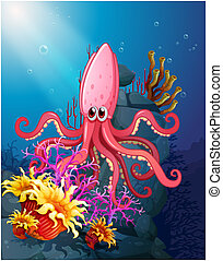 A big squid under the sea with the corals - Illustration of...