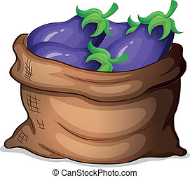 A sack of eggplants - Illustration of a sack of eggplants on...