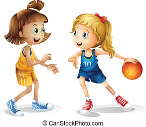 Female basketball players - Illustration of the female...