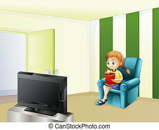 A girl watching TV while eating - Illustration of a girl...