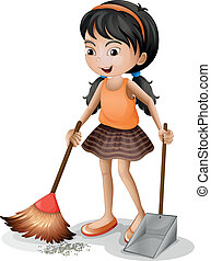 A young girl sweeping - Illustration of a young girl...