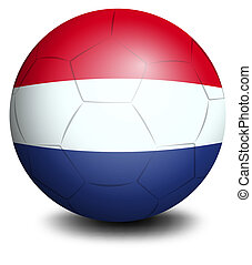 A soccer ball designed with the flag of the Netherlands -...