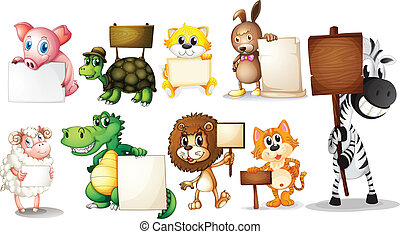 Animals with empty signboards - Illustration of the animals...