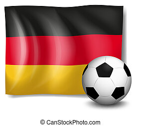 A soccer ball in front of the German flag