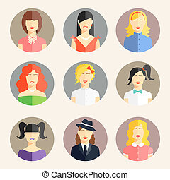 women avatars in flat style - Vector collection of women...