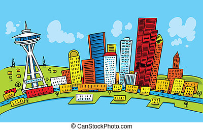 Bright Seattle - Bright cartoon of the city of Seattle,...