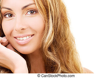healthy beautiful woman face - closeup picture of healthy...