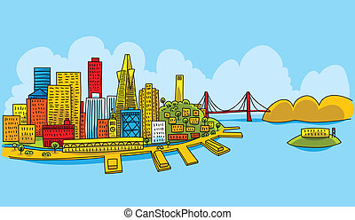 Bright San Francisco - Bright cartoon of the city of San...