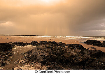 ocean storm - ballybunion beach as a storm gathers power on...