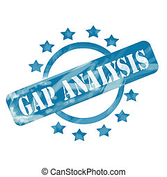 Blue Weathered Gap Analysis Stamp Circle and Stars design -...