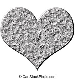 3D Stone Heart - 3d stone heart isolated in white