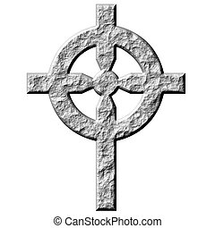 3D Stone Celtic Cross - 3d stone celtic cross isolated in...