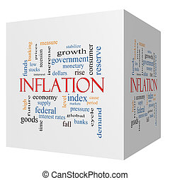 Inflation 3D cube Word Cloud Concept with great terms such...
