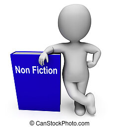Non Fiction Book And Character Shows Educational Text Or...