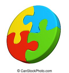 Puzzle circle logo 3D - Puzzle circle in vivid colors 3D...