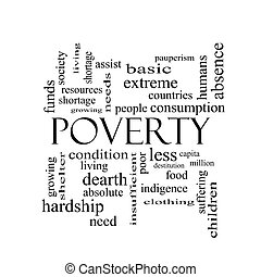 Poverty Word Cloud Concept in black and white with great...