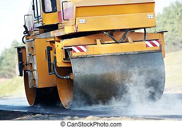 compacteur, rouleau, asphalting, Travail