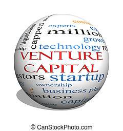 Venture Capital 3D sphere Word Cloud Concept with great...
