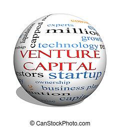 Empreendimento, capital, 3D, esfera, palavra, nuvem,...