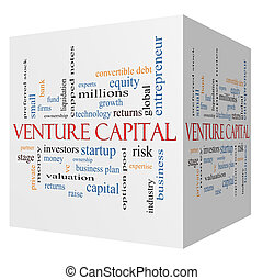 Venture Capital 3D cube Word Cloud Concept with great terms...
