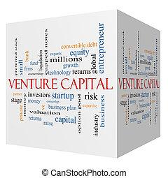 Empreendimento, capital, 3D, cubo, palavra, nuvem, conceito