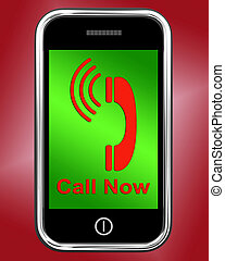 Call Now On Phone Shows Talk or Chat - Call Now On Phone...