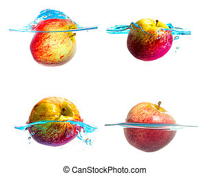 set of Apple falls deeply under water with a big splash.
